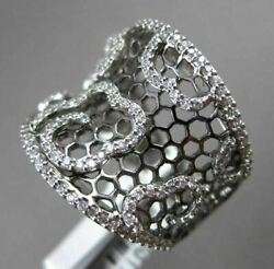 Antique Large .61ct Diamond 18kt Black And White Gold 3d Floating Floral Mesh Ring