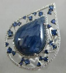 Large 12.95ct Diamond Aaa Sapphire And Cabochon Kyanite 14k White Gold Etoile Ring