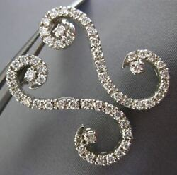Estate Large 1.18ct Round Diamond 14kt White Gold 3d Wave S Hanging Earrings