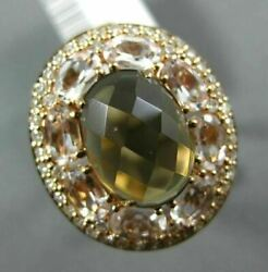 Large 6.30ct Diamond Aaa White Quartz And Smoky Topaz 14k Rose Gold 3d Oval Ring