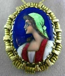 Antique 14kt Yellow Gold 3d Handcrafted Multi Color Enamel Lady Pin Pendant