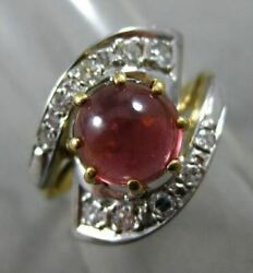 Antique Wide 1.62ct Diamond And Garnet 14kt White And Yellow Gold Infinity Love Ring