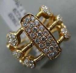 Estate 1.26ct Diamond 18kt Rose Gold 3d Cluster Multi Row And Shape Bamboo Ring