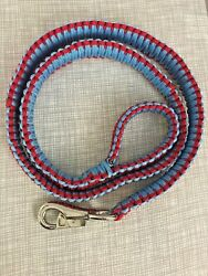 Paracord Dog Leash Heavy Duty Custom Made Light Blue With Red