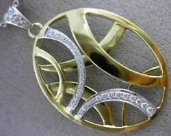 Estate Large .32ct Diamond 18kt White And Yellow Gold 3d Oval Criss Cross Pendant