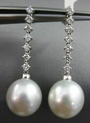 Estate .42ct Diamond And South Sea Pearl 18kt White Gold Classic Hanging Earrings