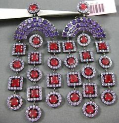 Antique Large 8.36ct Ruby And Amethyst 14kt White And Black Gold Chandelier Earrings