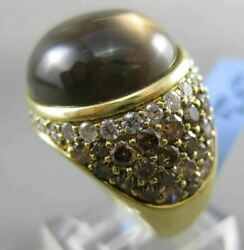 Estate Massive 22.24ct Diamond And Smoky Topaz 18kt Yellow Gold 3d Cocktail Ring