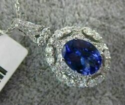 Estate Large 2.41ct Diamond And Aaa Tanzanite 18k White Gold Oval Floating Pendant