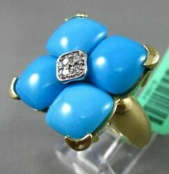 Estate Large .10ct Diamond And Aaa Turquoise 18kt Yellow Gold Square Filigree Ring