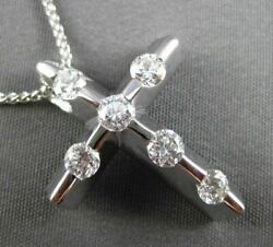 Estate Large .75ct Diamond 14kt White Gold Etoile Cross Floating Pendant And Chain