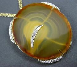 Antique Long .90ct Diamond And Agate 14kt Yellow Gold 3d Floating Italian Necklace