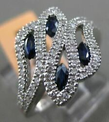 Estate Wide .84ct Diamond And Aaa Sapphire 14kt White Gold Multi Leaf Etoile Ring