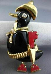 ANTIQUE LARGE .15CT DIAMOND CORAL & ONYX 18K YELLOW GOLD 3D HAPPY DUCK PIN 25663