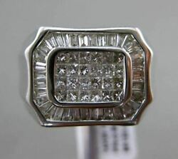 Estate Large 1ct Princess And Baguette Diamond 14kt White Gold Hexagon Mens Ring