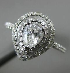 Estate Wide 1.18ct Diamond 14k White Gold Pear Shape Double Halo Engagement Ring
