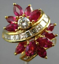 Estate Large 3.48ct Diamond And Aaa Ruby 18kt Yellow Gold 3d Flower Ring E/f 25845