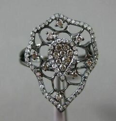 Antique .51ct White And Fancy Color Diamond 14kt Black Gold 3d Filigree Fun Ring