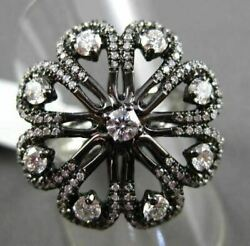 Antique Large 1.14ct Diamond 18kt White And Black Gold Etoile Flower Fun Ring