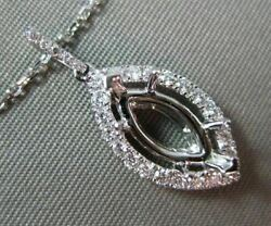 Estate .26ct Diamond 18kt White Gold 3d Halo Floating Semi Mount Pendant And Chain