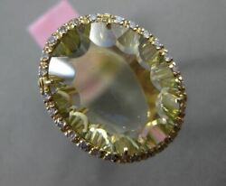 Estate Large 8.02ct Diamond And Green Amethyst 14kt Yellow Gold Open Filigree Ring