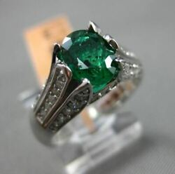 Estate 1.50ct Diamond And Aaa Emerald 14kt White Gold 3d Flower Engagement Ring