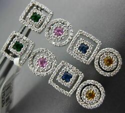 Estate 2.48ct Diamond And Aaa Multi Color Gem 18kt White Gold Double Halo Earrings