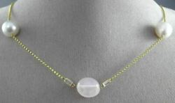Estate 14kt Yellow Gold Topaz And Pink Quartz South Sea Pearl By The Yard Necklace