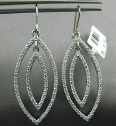 Large 1.40ct Diamond 14kt White Gold Double Leaf Marquise Shape Hanging Earrings