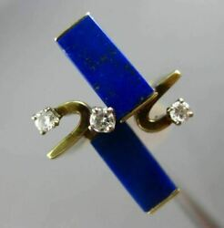 Antique .18ct Diamond And Lapis 14kt White And Yellow Gold 3d Rectangular Fun Ring