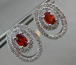 Estate 2ct Diamond And Orange Sapphire 14k White Gold Double Oval Hanging Earrings