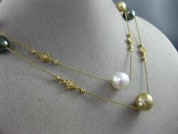 Large And Long .80ct Diamond And Aaa Multi Color Pearls 14kt Yellow Gold 3d Necklace