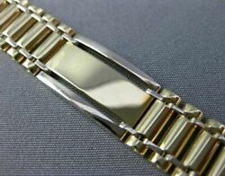 Estate Wide Long 14kt White And Yellow Gold 3d Classic Handcrafted Mens Bracelet