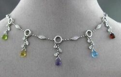 Antique 6.24ct Diamond And Aaa Extra Facet Multi Gem 14kt White Gold 3d Necklace