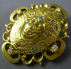 Antique Extra Large 0.63ct Diamond 14kt Yellow Gold 3d Cleopatra Pendant Brooch