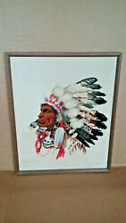 Old Vintage Antique 17×21' Hand Stitched Cherokee Chief Canvas Picture Art