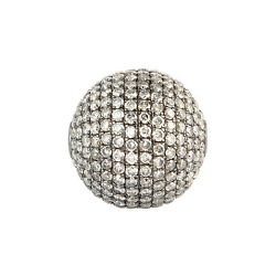 4.08ct Pave Diamond Spacer Bead Ball Finding 925 Sterling Silver Jewelry