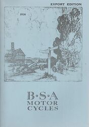 1926 Bsa Motor Bicycles Catalog Export Edition - Reproduction