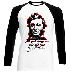 HENRY DAVID THOREAU ALL GOOD THINGS - NEW BLACK SLEEVED BASEBALL COTTON TSHIRT
