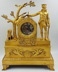 Large French Le Roy Mantel Clock -hour And Half Hour Repeater-hunter Scene 1820-