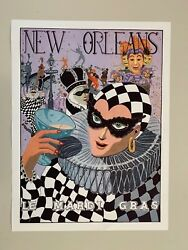 Le Mardi Gras By George Luttrell,new Orleans, Rare Signed 1993 Art Poster