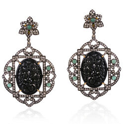 Carved Jade And Emerald Dangle Earrings 18k Gold Diamond Sterling Silver Jewelry