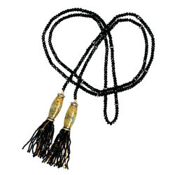 Carved Beaded And Diamond 18k Gold Silver Lariat Tassel Necklace Gemstone Jewelry