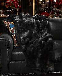 New 100 Shearling Front Wool Blend Back Throw Blanket