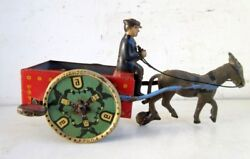 Antique Old Rare Lehmann Mark Wind Up Man With Donkey Cart Litho Tin Toy Germany