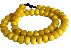 Superb Vintage African Simulated Amber Necklace W/50 Trade Beads