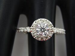New 1.41 Tcw 10 Star Round Brilliant Certified Egl And Ghi Diamond D/si2 Halo Ring
