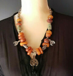 Antique Berber Natural Amber Amazonite Silver Pendants Necklace African Trade