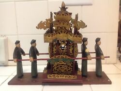 Vintage Asian Miniature Wedding Carriage With 4 Mens Figure And A Woman Figure