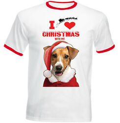 I Love Christmas With My Jack Russel Terrier Santa - RED RINGER COTTON TSHIRT